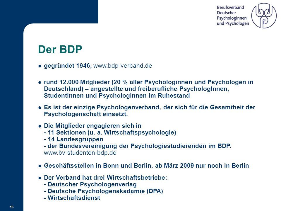 Der BDP gegründet 1946, www.bdp-verband.de