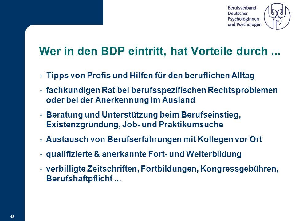 Wer in den BDP eintritt, hat Vorteile durch ...