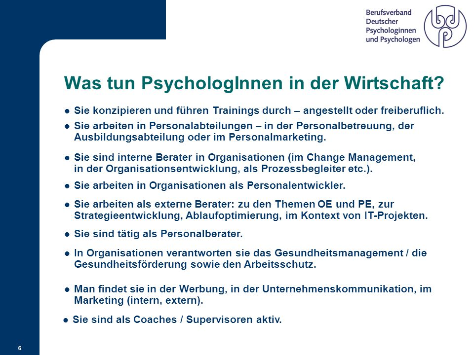 Was tun PsychologInnen in der Wirtschaft