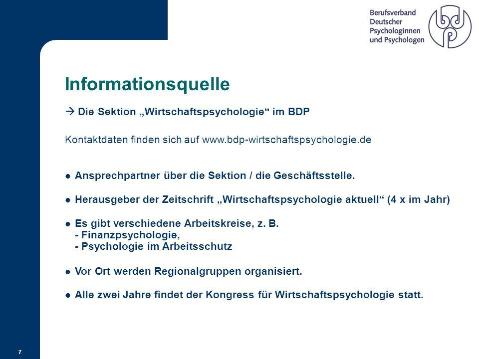 """Informationsquelle  Die Sektion """"Wirtschaftspsychologie im BDP"""