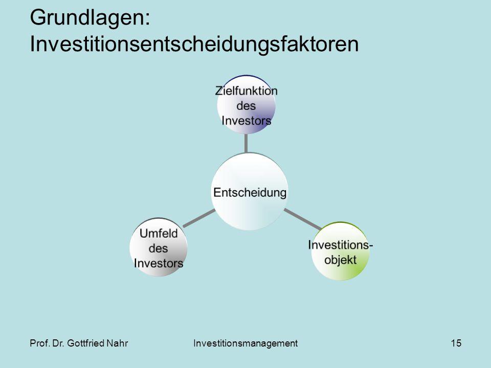 Grundlagen: Investitionsentscheidungsfaktoren