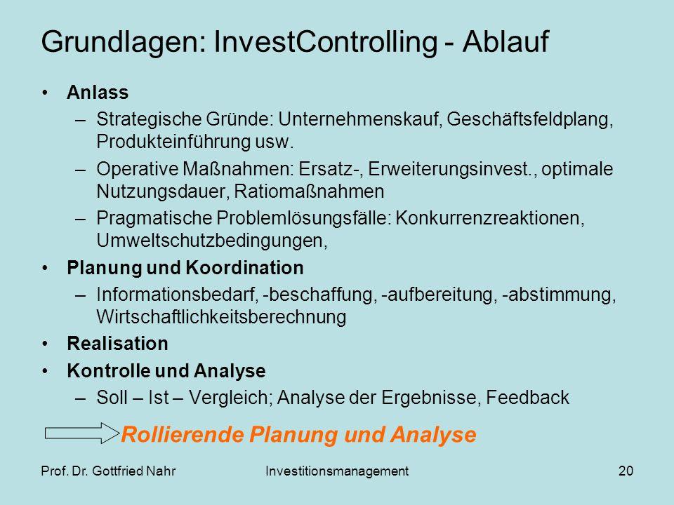 Grundlagen: InvestControlling - Ablauf