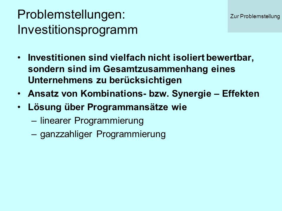 Problemstellungen: Investitionsprogramm