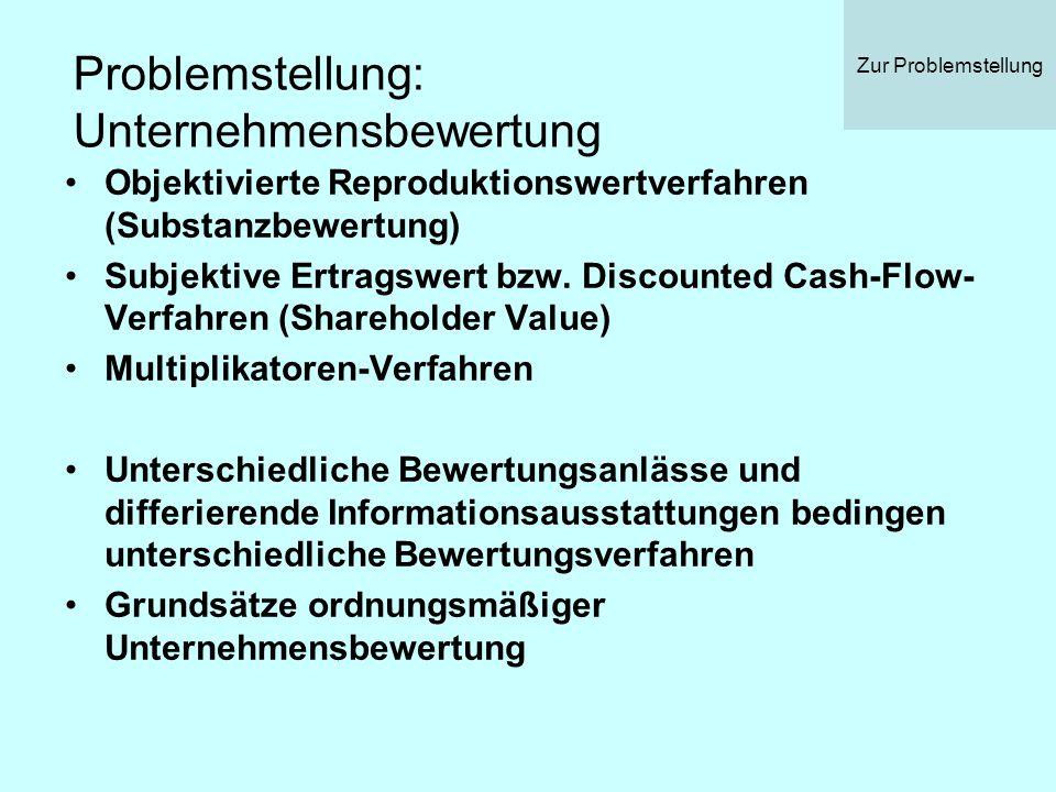 Problemstellung: Unternehmensbewertung