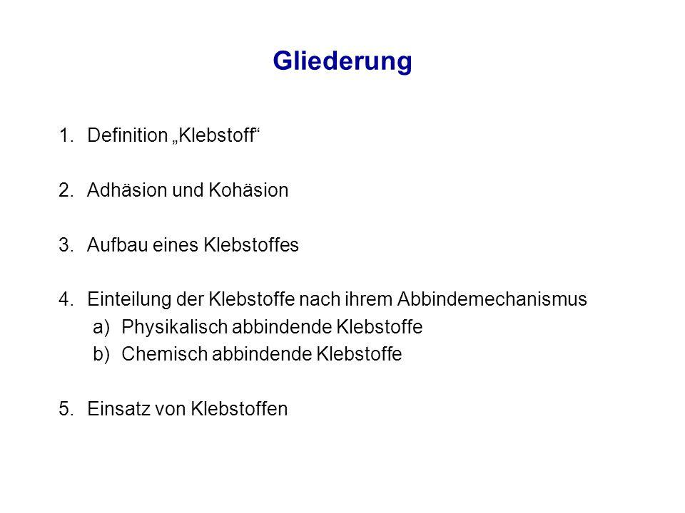 """Gliederung Definition """"Klebstoff Adhäsion und Kohäsion"""