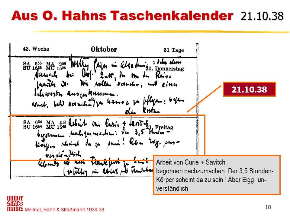 Aus O. Hahns Taschenkalender 21.10.38