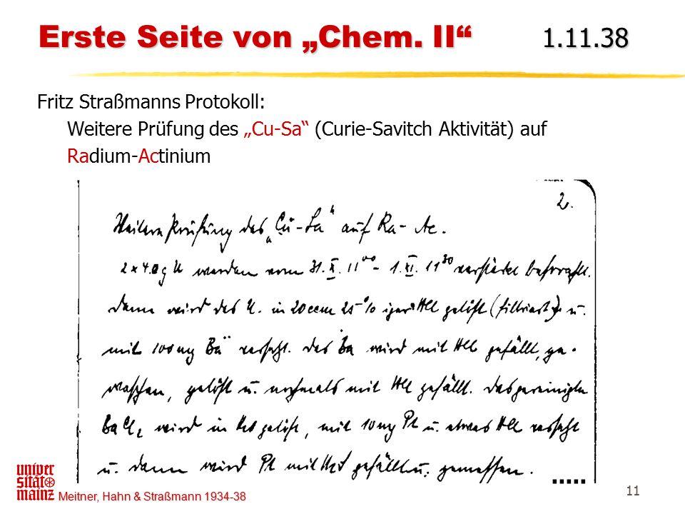 """Erste Seite von """"Chem. II 1.11.38"""