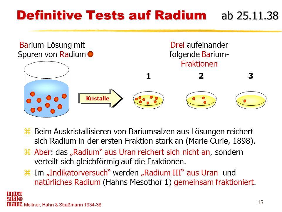 Definitive Tests auf Radium ab 25.11.38