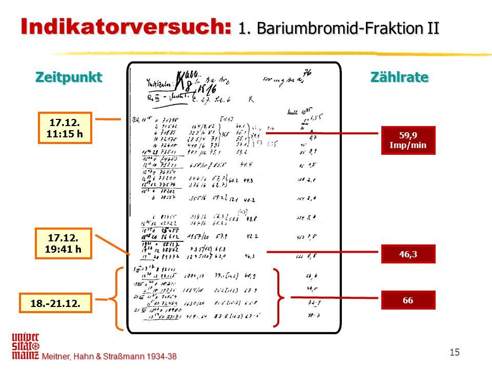 Indikatorversuch: 1. Bariumbromid-Fraktion II