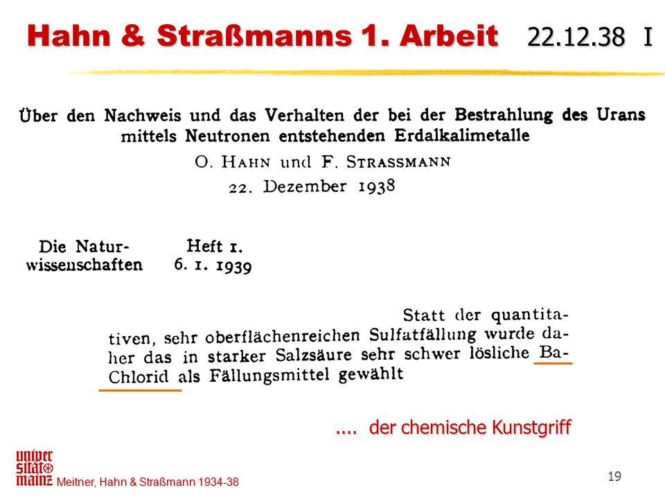 Hahn & Straßmanns 1. Arbeit 22.12.38 I