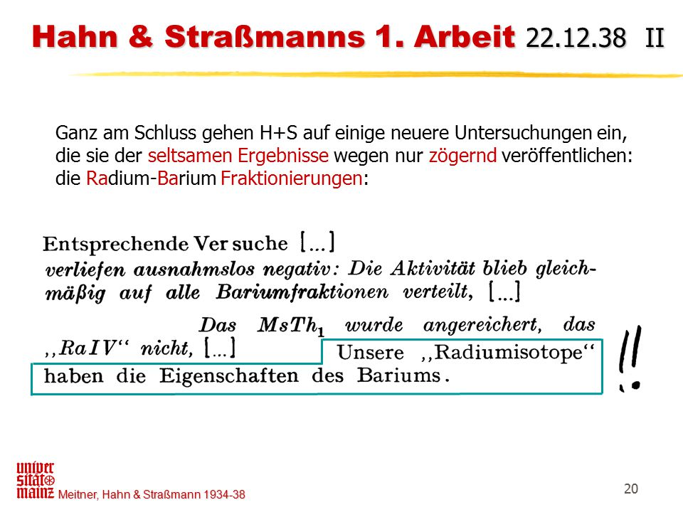 Hahn & Straßmanns 1. Arbeit 22.12.38 II