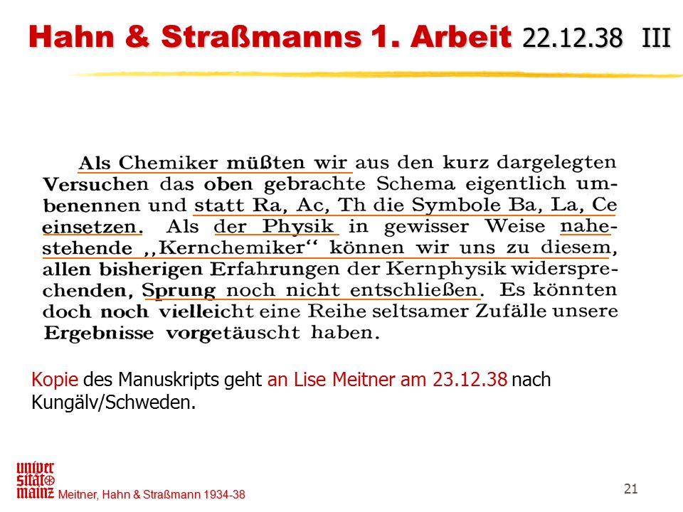 Hahn & Straßmanns 1. Arbeit 22.12.38 III