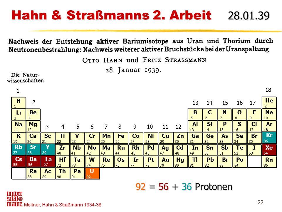 Hahn & Straßmanns 2. Arbeit 28.01.39