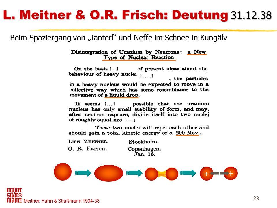 L. Meitner & O.R. Frisch: Deutung 31.12.38
