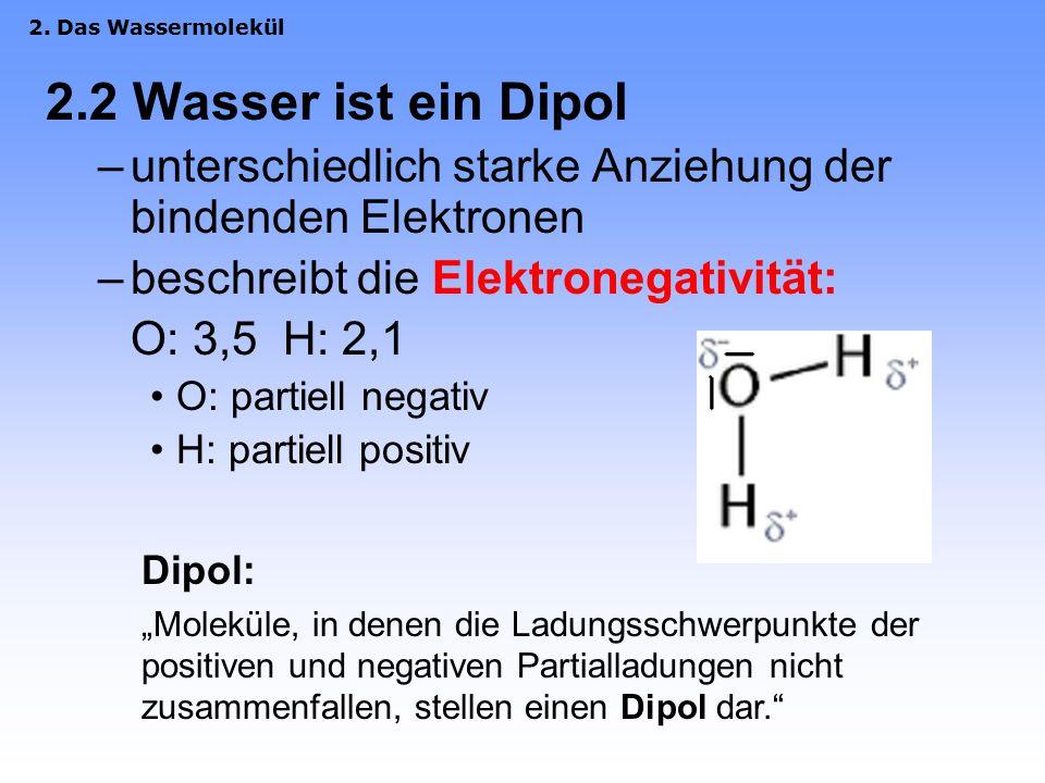 2. Das Wassermolekül 2.2 Wasser ist ein Dipol. unterschiedlich starke Anziehung der bindenden Elektronen.