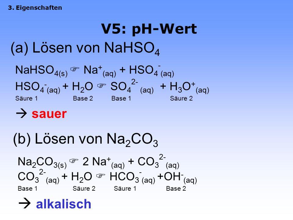 (a) Lösen von NaHSO4 (b) Lösen von Na2CO3  alkalisch V5: pH-Wert