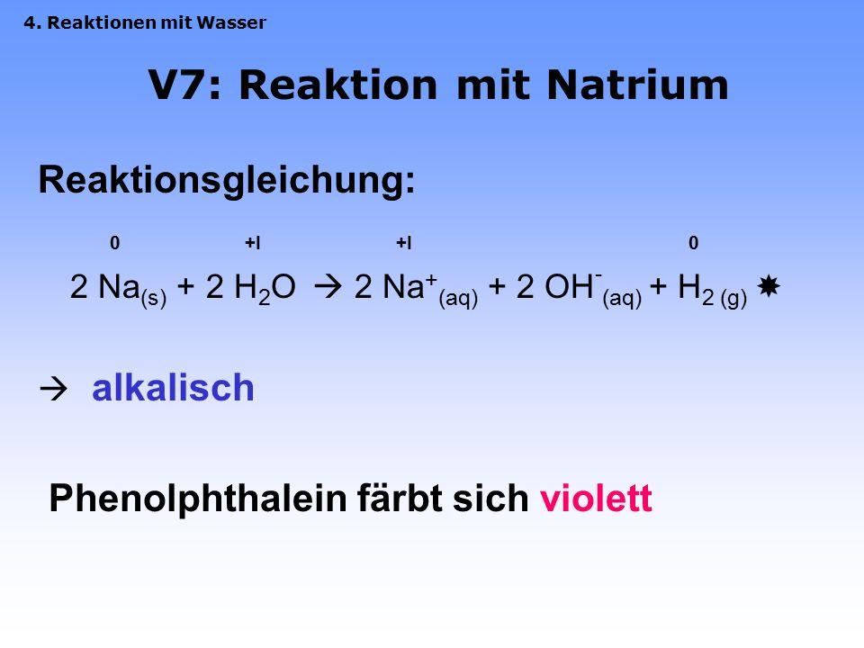 V7: Reaktion mit Natrium