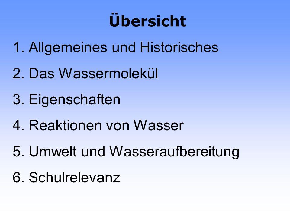 Übersicht 1. Allgemeines und Historisches. 2. Das Wassermolekül. 3. Eigenschaften. 4. Reaktionen von Wasser.