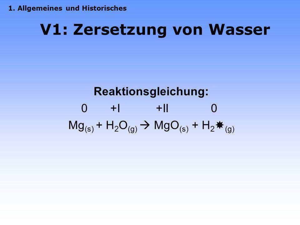 V1: Zersetzung von Wasser