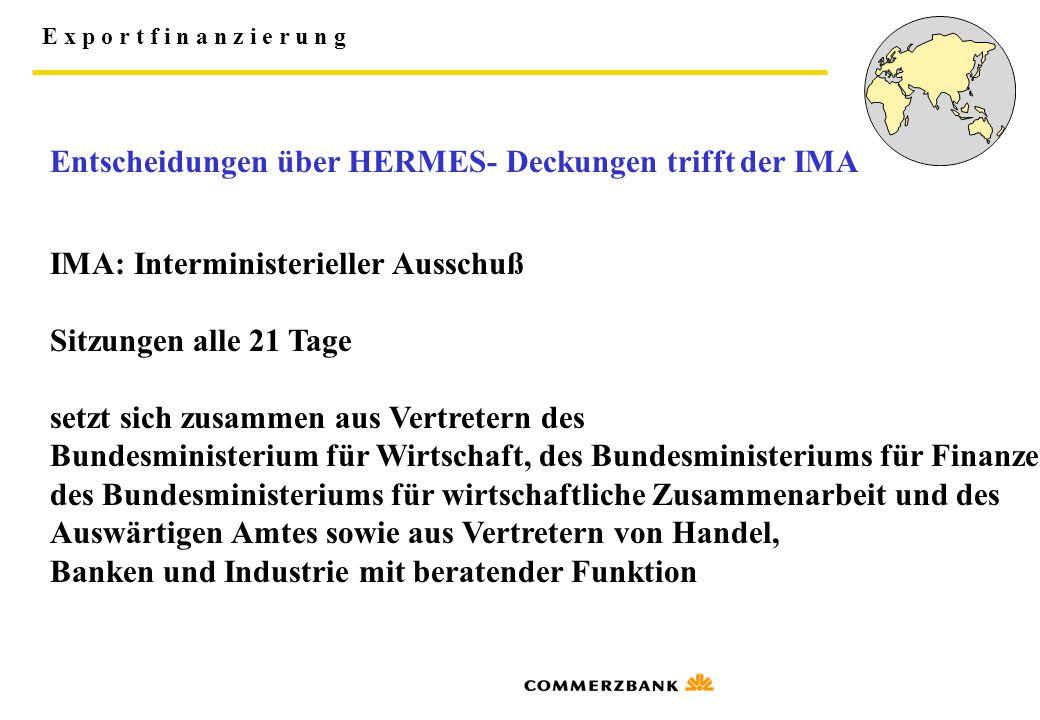 Entscheidungen über HERMES- Deckungen trifft der IMA