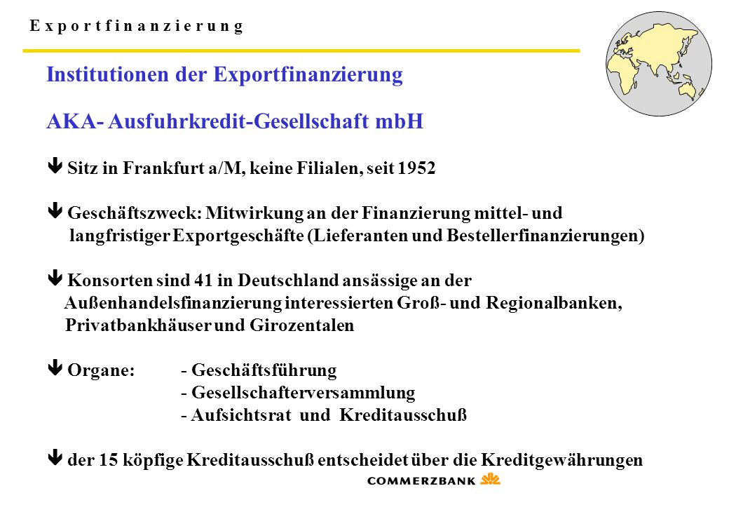 Institutionen der Exportfinanzierung