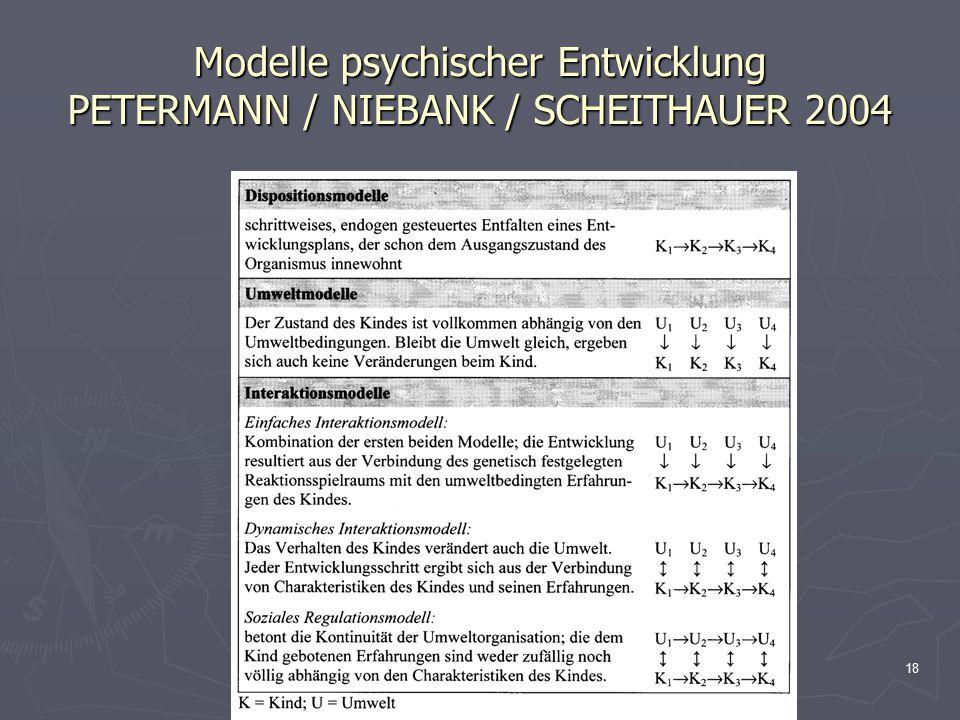 Modelle psychischer Entwicklung PETERMANN / NIEBANK / SCHEITHAUER 2004