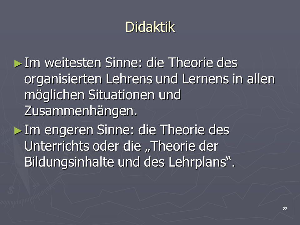 Didaktik Im weitesten Sinne: die Theorie des organisierten Lehrens und Lernens in allen möglichen Situationen und Zusammenhängen.