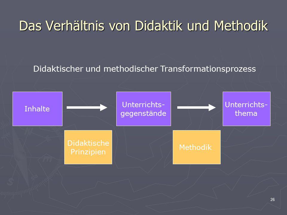Das Verhältnis von Didaktik und Methodik