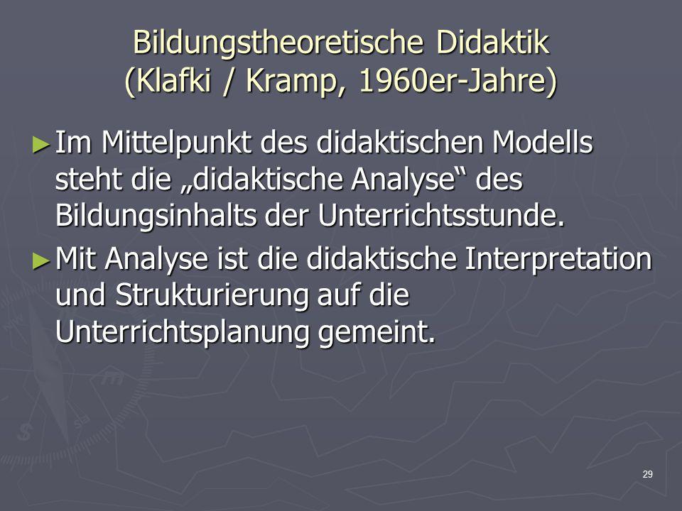 Bildungstheoretische Didaktik (Klafki / Kramp, 1960er-Jahre)