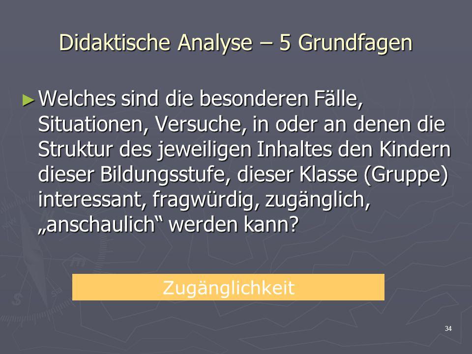 Didaktische Analyse – 5 Grundfagen