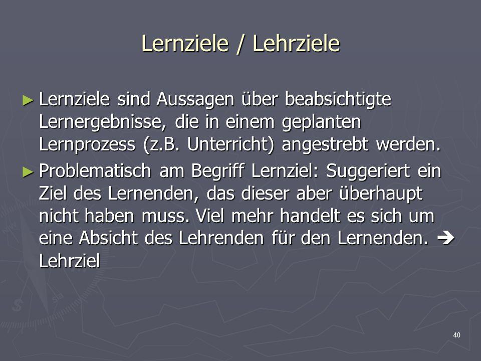Lernziele / Lehrziele