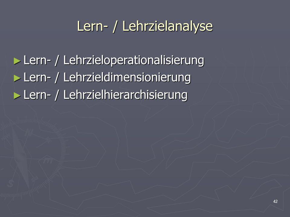 Lern- / Lehrzielanalyse