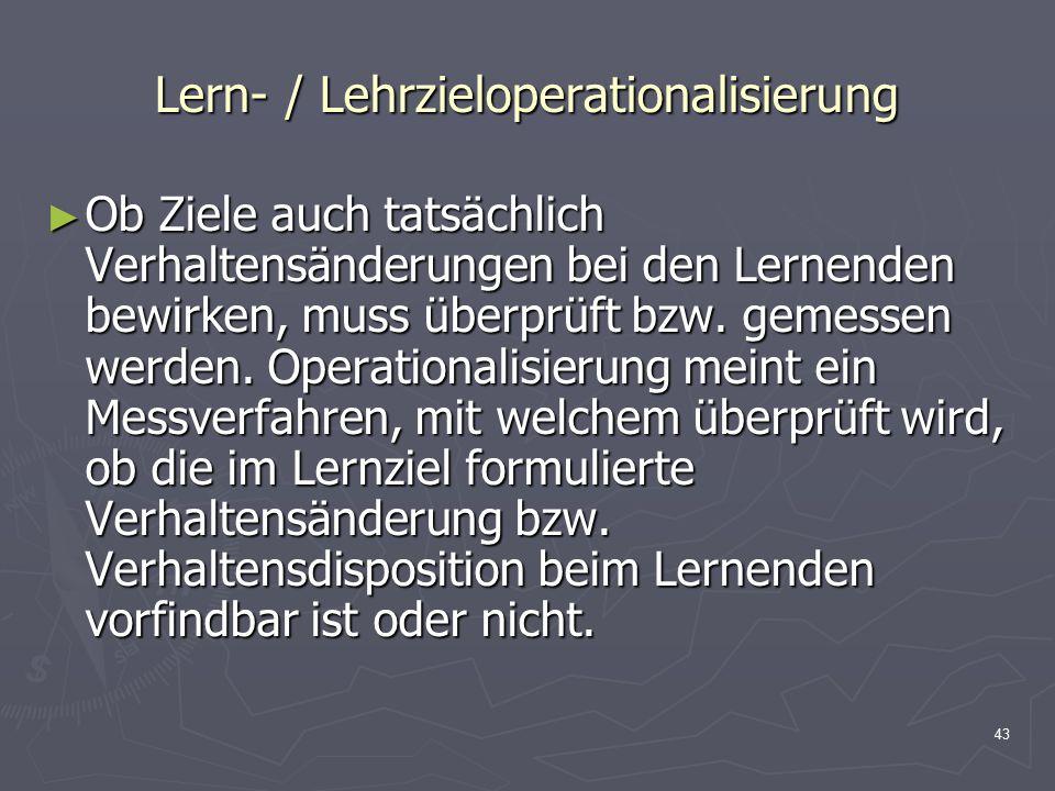 Lern- / Lehrzieloperationalisierung