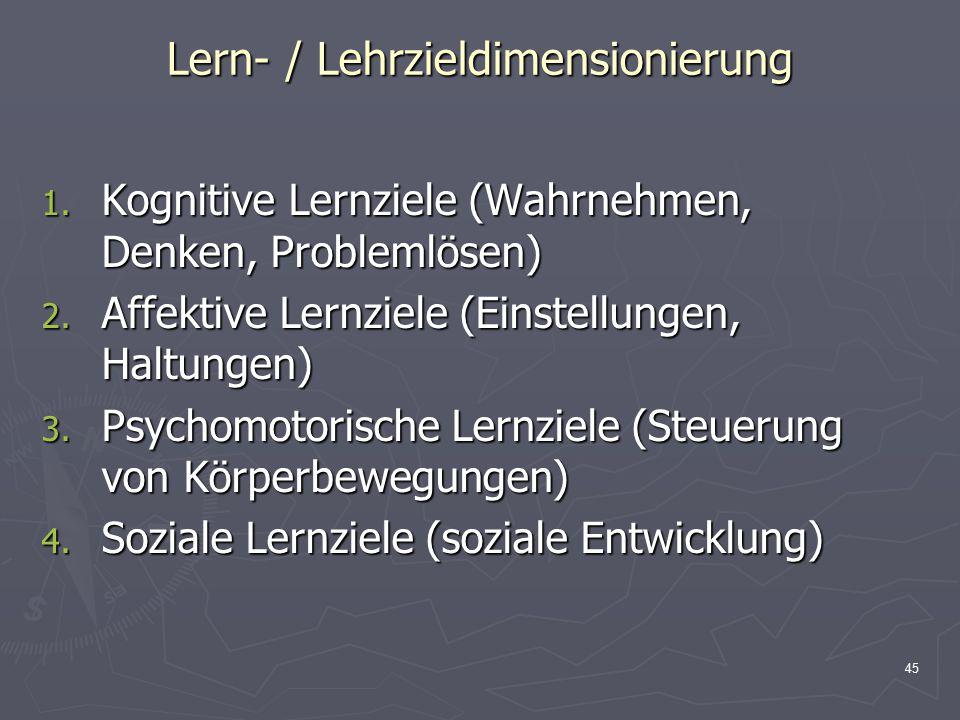 Lern- / Lehrzieldimensionierung
