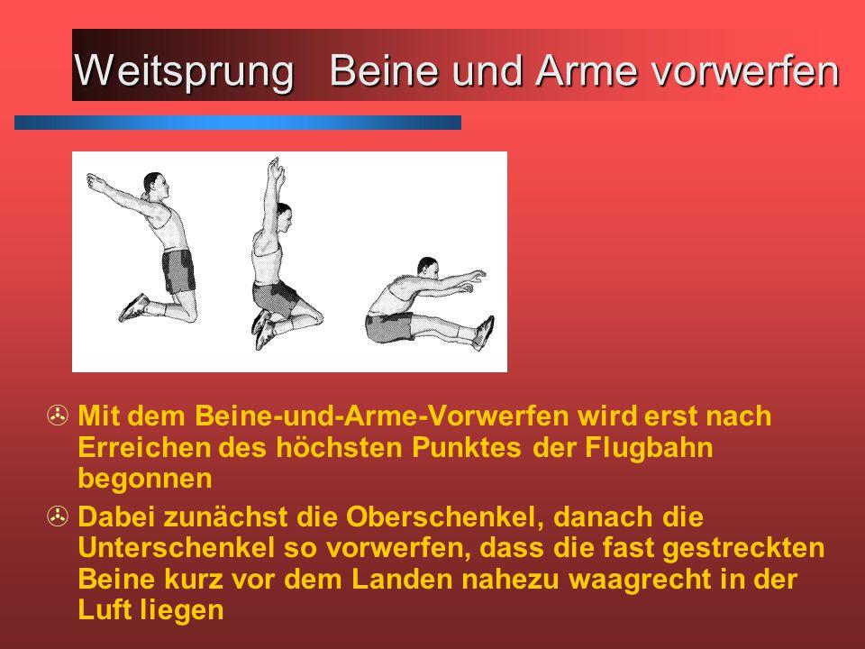 Weitsprung Beine und Arme vorwerfen