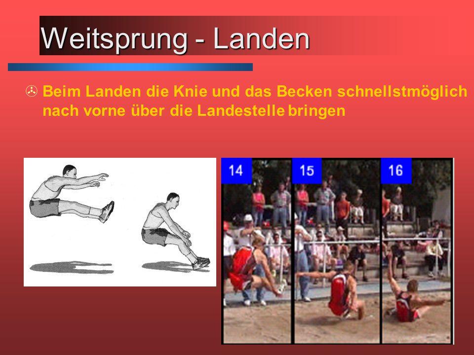 Weitsprung - Landen Beim Landen die Knie und das Becken schnellstmöglich nach vorne über die Landestelle bringen.