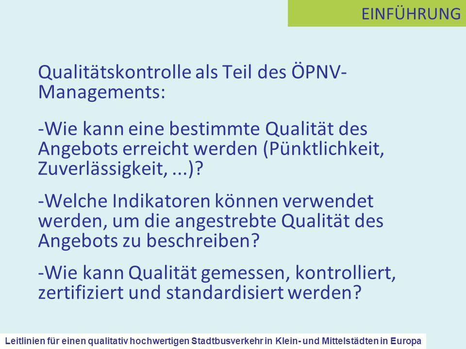 Qualitätskontrolle als Teil des ÖPNV-Managements: