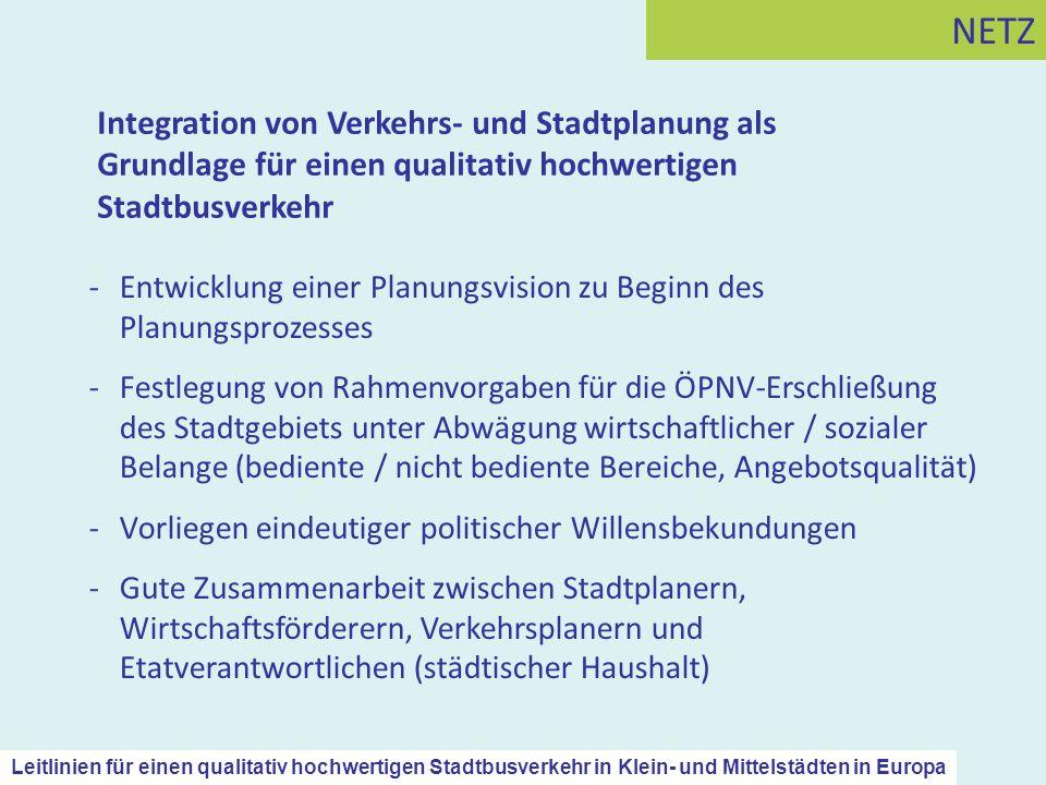 NETZ Integration von Verkehrs- und Stadtplanung als Grundlage für einen qualitativ hochwertigen Stadtbusverkehr.
