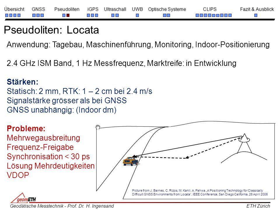 Pseudoliten: Locata Anwendung: Tagebau, Maschinenführung, Monitoring, Indoor-Positionierung.