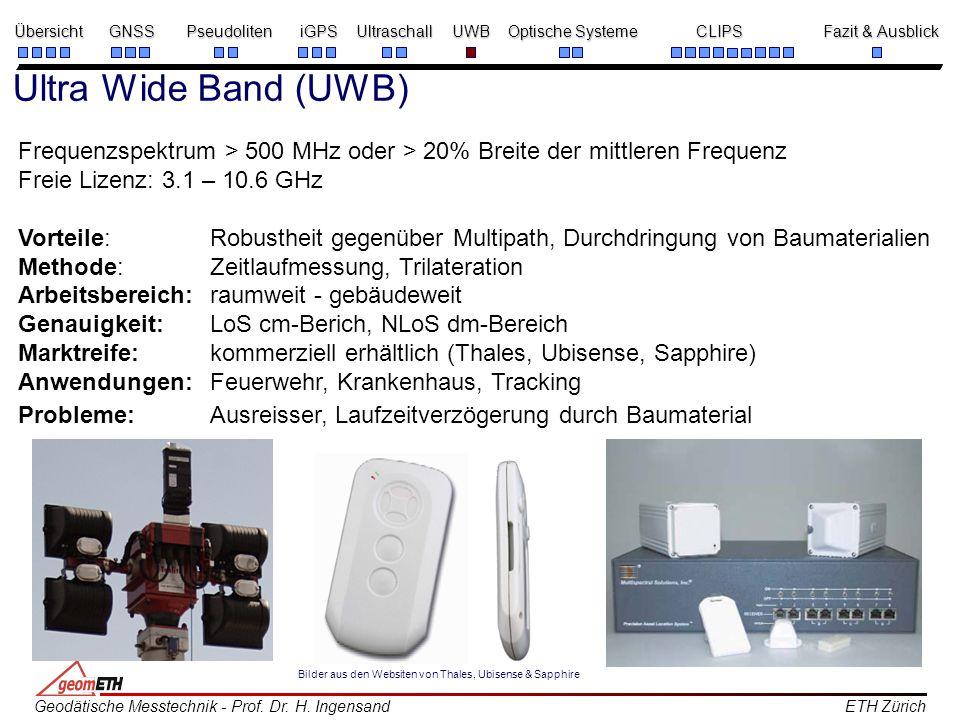 Ultra Wide Band (UWB) Frequenzspektrum > 500 MHz oder > 20% Breite der mittleren Frequenz. Freie Lizenz: 3.1 – 10.6 GHz.