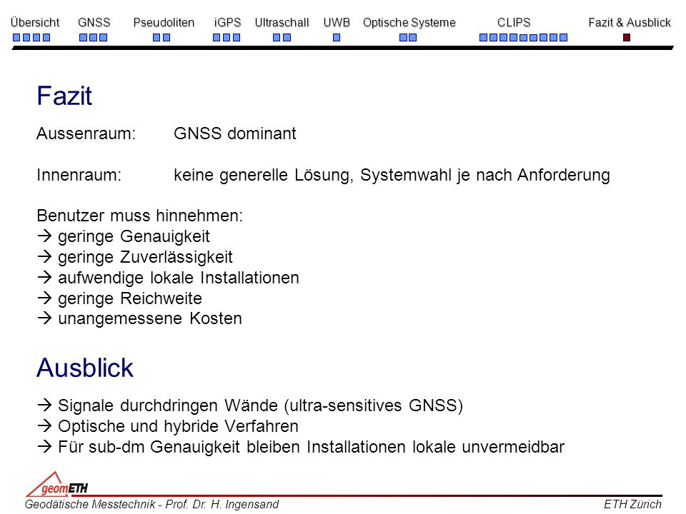 Fazit Aussenraum:. GNSS dominant Innenraum: