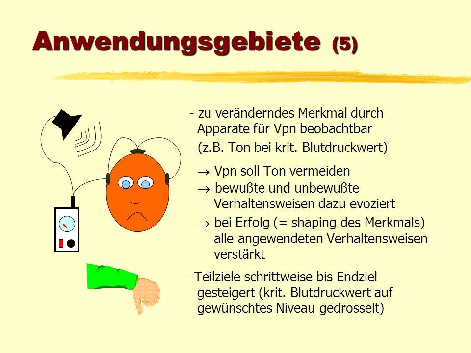 Anwendungsgebiete (5) - zu veränderndes Merkmal durch Apparate für Vpn beobachtbar. (z.B. Ton bei krit. Blutdruckwert)