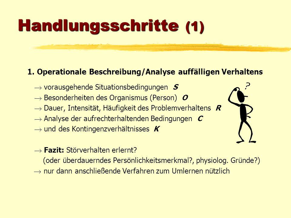 Handlungsschritte (1) 1. Operationale Beschreibung/Analyse auffälligen Verhaltens.  vorausgehende Situationsbedingungen S.