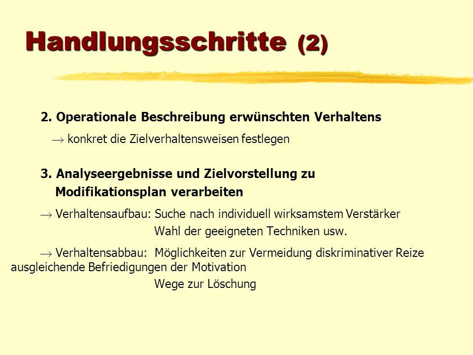 Handlungsschritte (2) 2. Operationale Beschreibung erwünschten Verhaltens.  konkret die Zielverhaltensweisen festlegen.