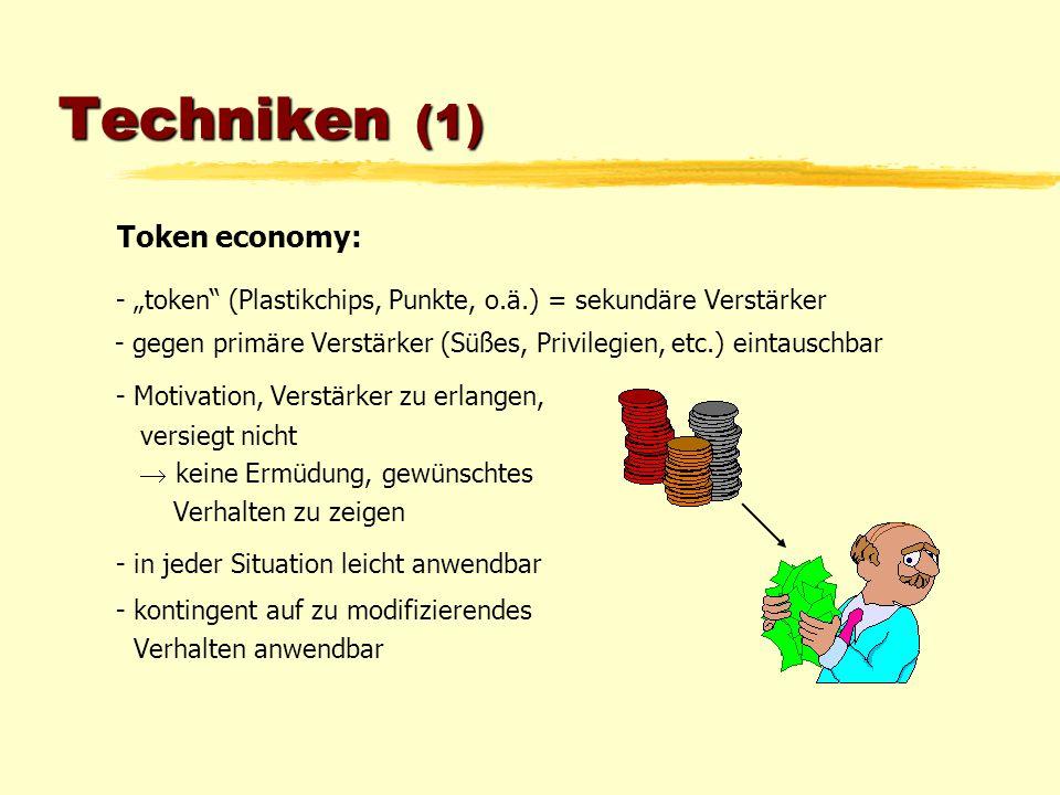 Techniken (1) Token economy: