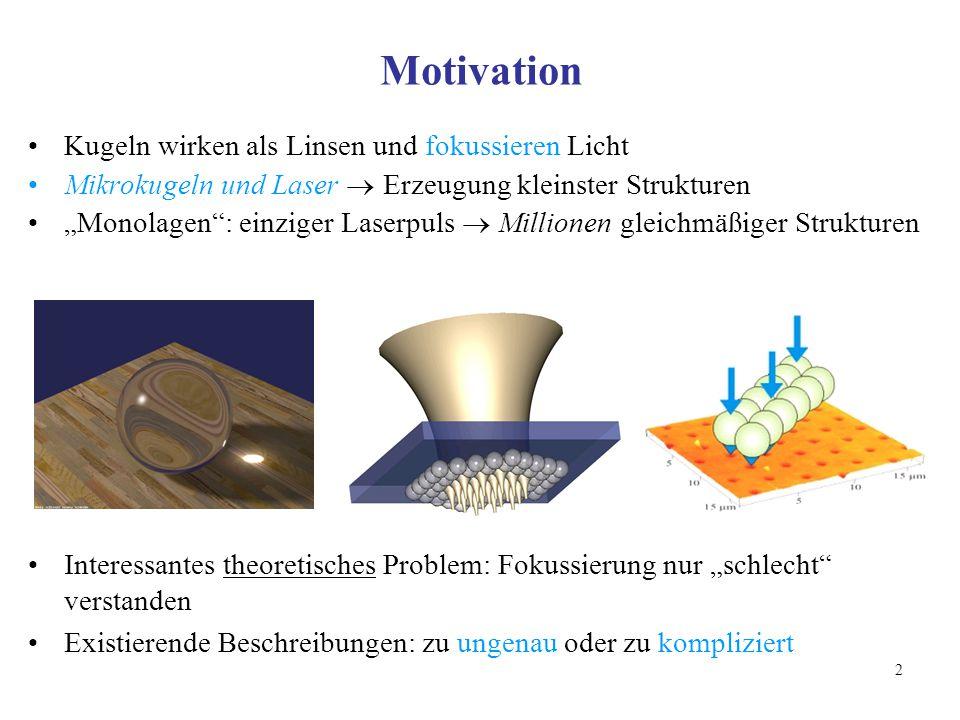 Motivation Kugeln wirken als Linsen und fokussieren Licht