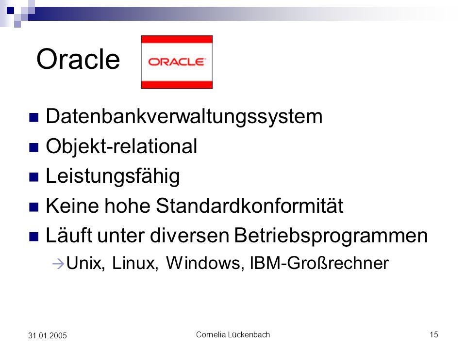Oracle Datenbankverwaltungssystem Objekt-relational Leistungsfähig