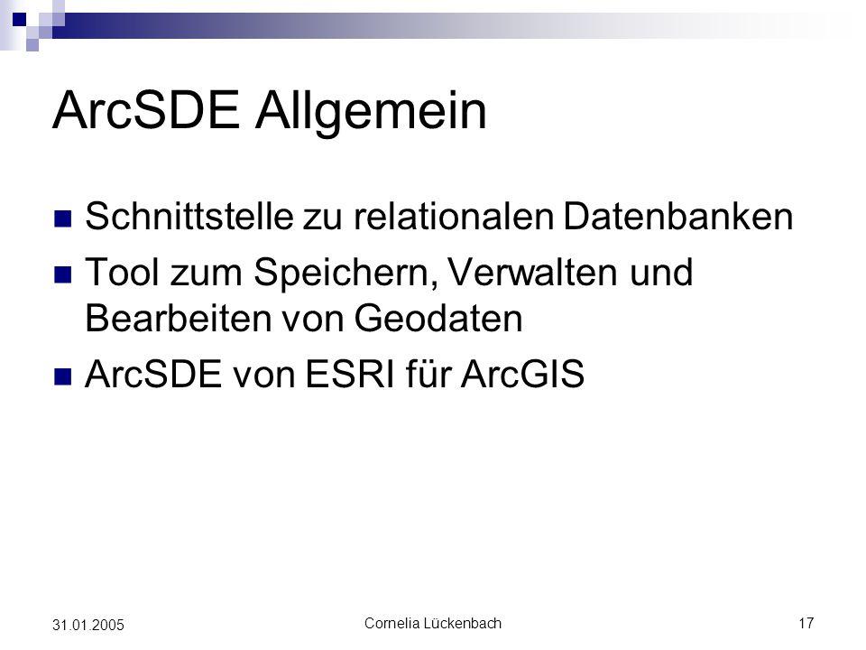 ArcSDE Allgemein Schnittstelle zu relationalen Datenbanken