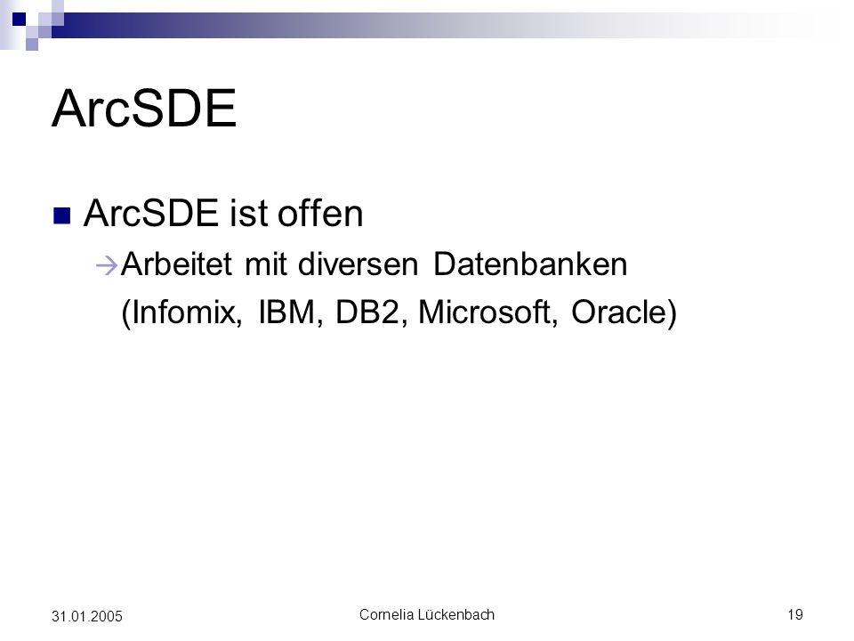 ArcSDE ArcSDE ist offen Arbeitet mit diversen Datenbanken