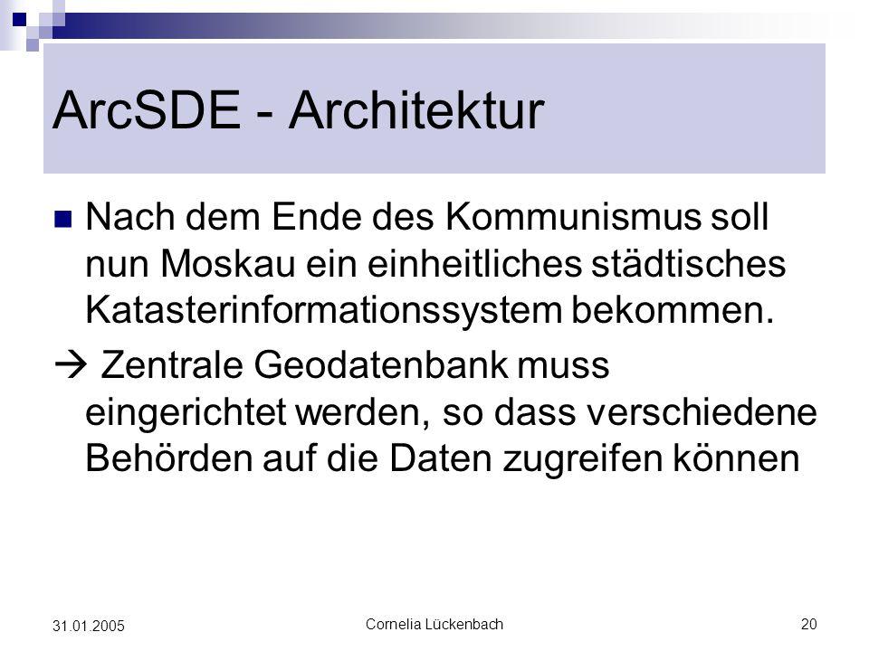 ArcSDE - Architektur Nach dem Ende des Kommunismus soll nun Moskau ein einheitliches städtisches Katasterinformationssystem bekommen.